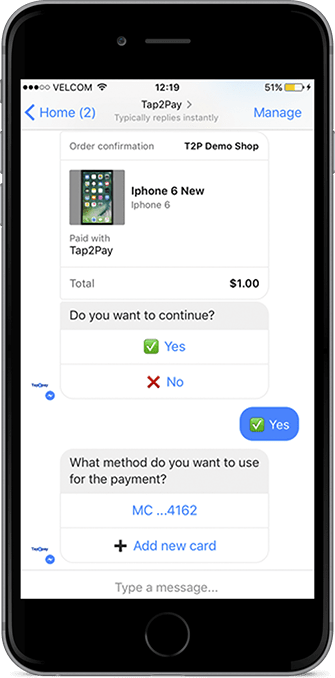 Native payments inside Facebook Messenger and FB by tap2pay.me